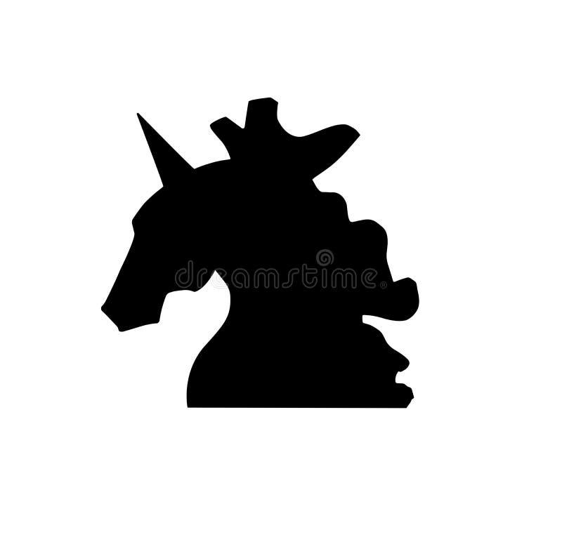导航略写法的,印刷品,横幅,海报独角兽顶头剪影 在白色隔绝的独角兽顶头剪影和略写法 魔术 向量例证