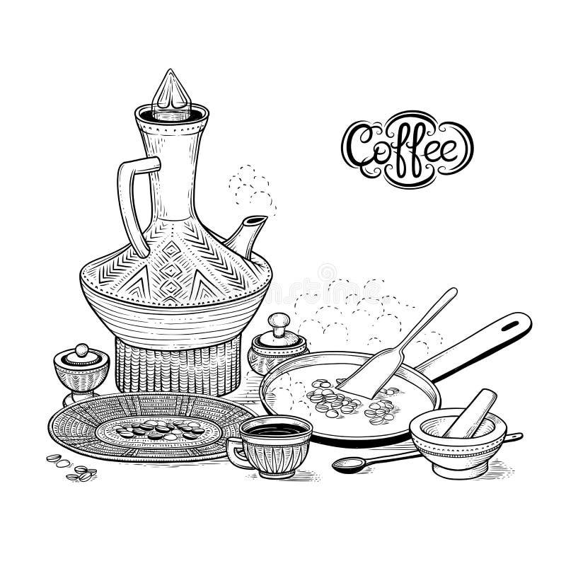 导航略图东部阿拉伯杯子和葡萄酒咖啡壶 库存例证