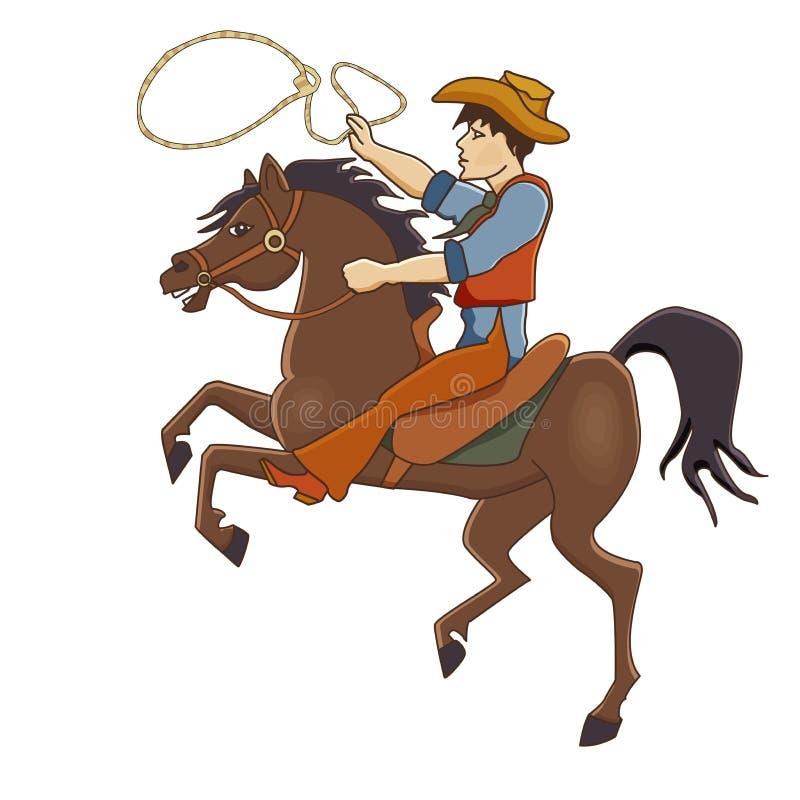 导航疾驰在马的牛仔的例证 皇族释放例证