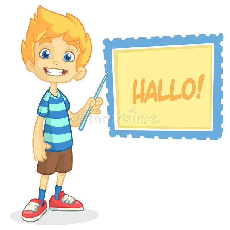 导航白肤金发的男孩的例证简而言之和镶边T恤杉 一个年轻男孩的动画片穿戴了提出在有点的一个委员会 皇族释放例证