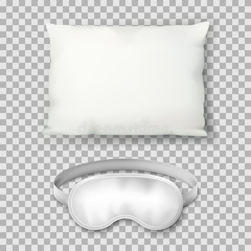 导航白色枕头和睡觉面具的现实3d例证 坐垫顶视图象 嘲笑设计模板 向量例证