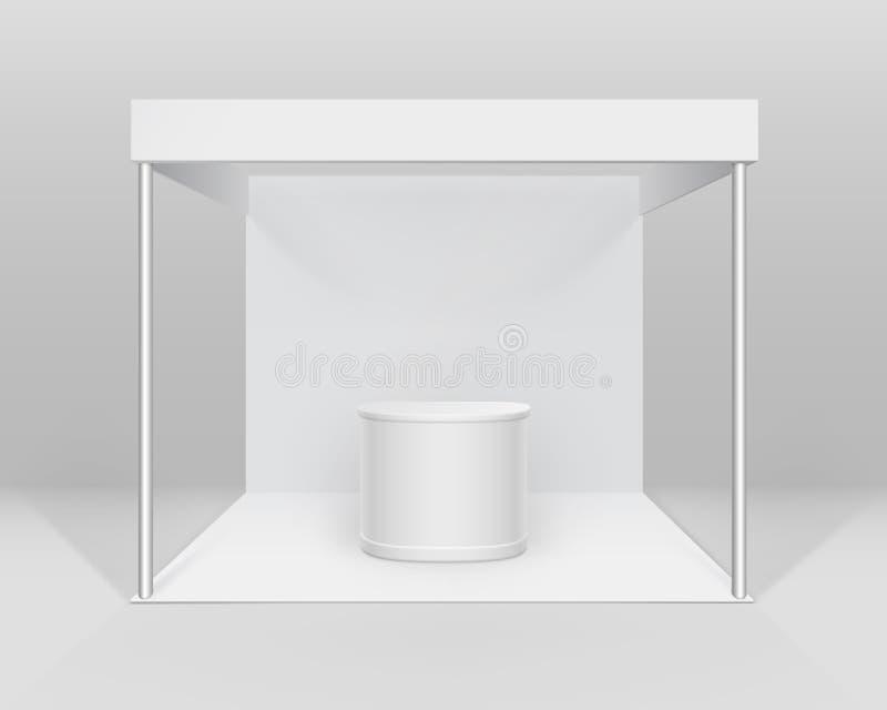 导航白色空白的室内商业介绍的陈列摊标准立场与在背景的柜台 皇族释放例证