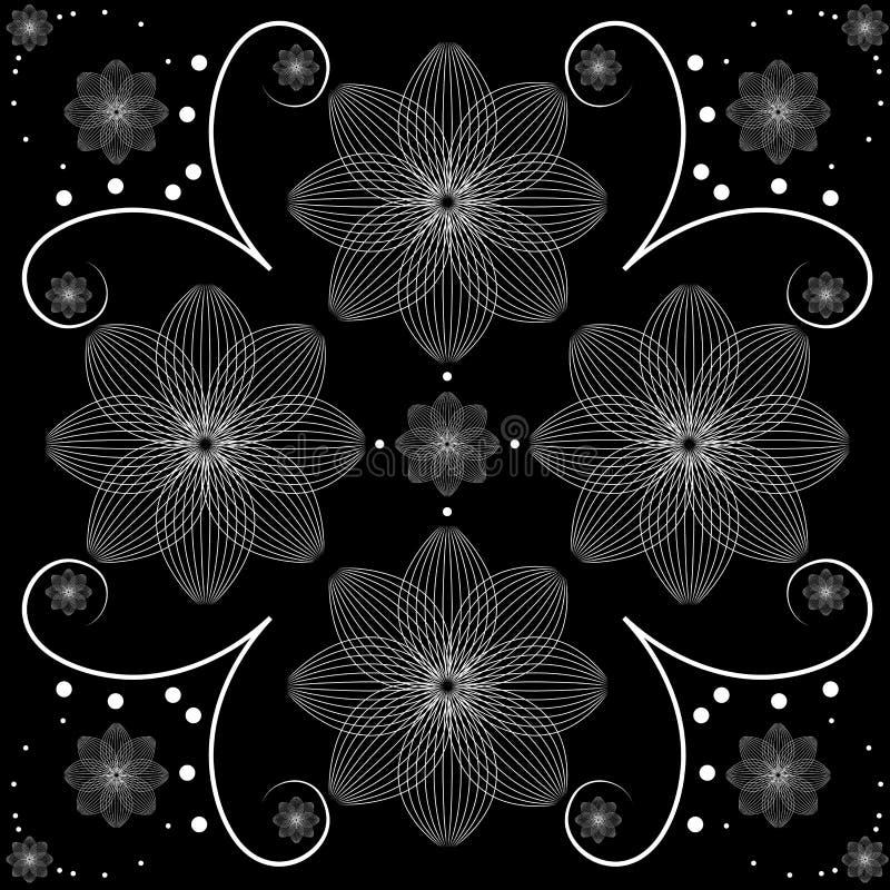 导航白色花卉设计的例证在黑背景的 向量例证