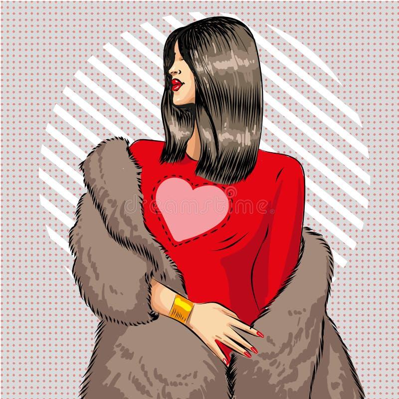 导航皮大衣的流行艺术美丽的深色的妇女 皇族释放例证