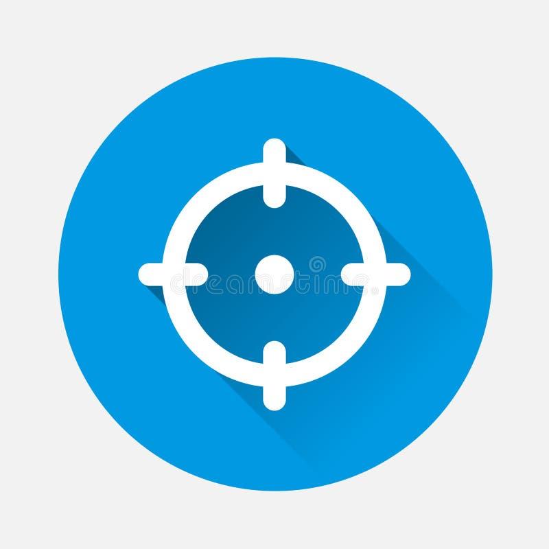 导航目标例证的象在蓝色背景的 平面 库存例证
