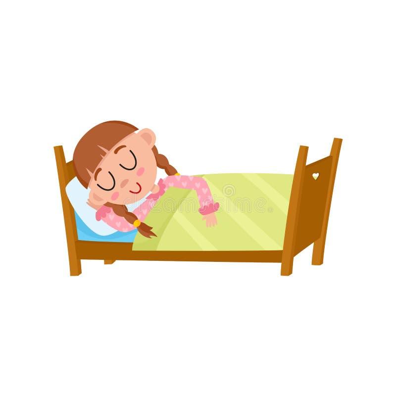 导航睡觉在她的床上的平的女孩在毯子下 皇族释放例证