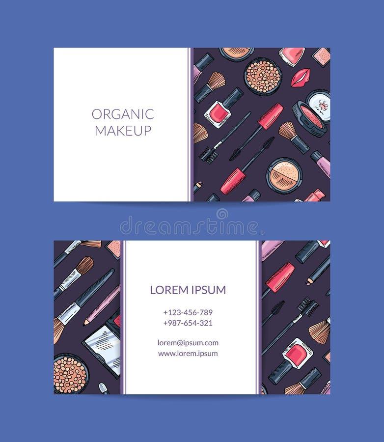 导航秀丽品牌的名片模板或有手拉的构成长方形的化妆师 向量例证