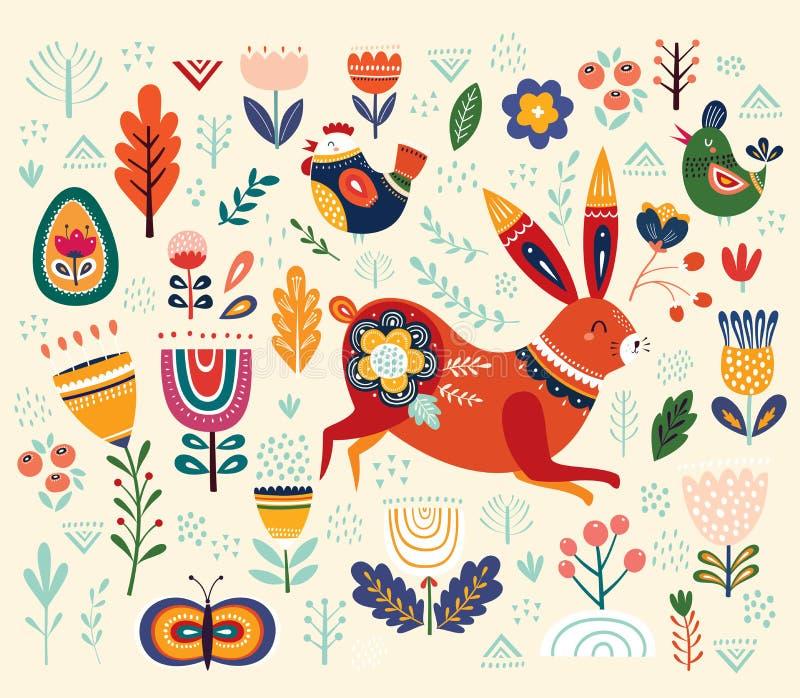 导航种族复活节样式用野兔和装饰花卉元素 皇族释放例证
