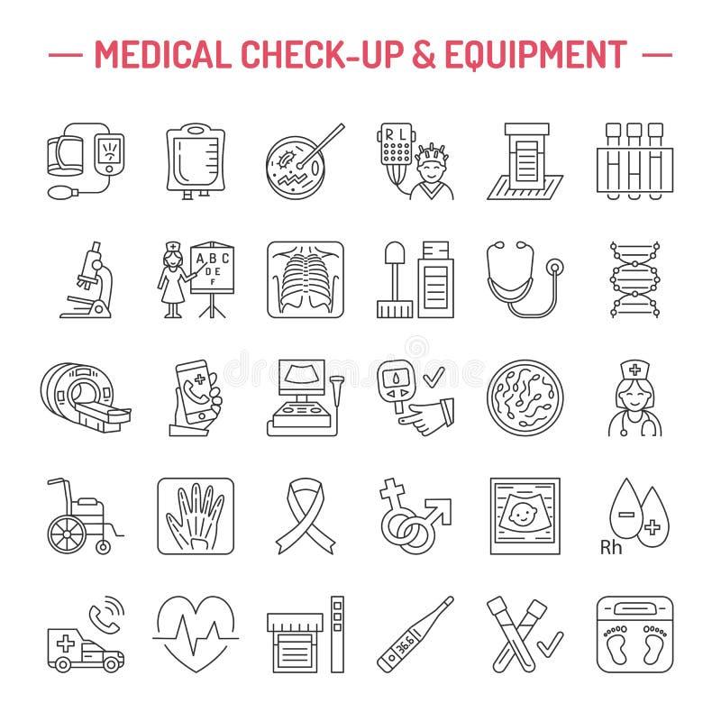 导航稀薄的线医疗设备象,研究 体检,测试元素- MRI, X-射线, glucometer,血压,实验室 皇族释放例证