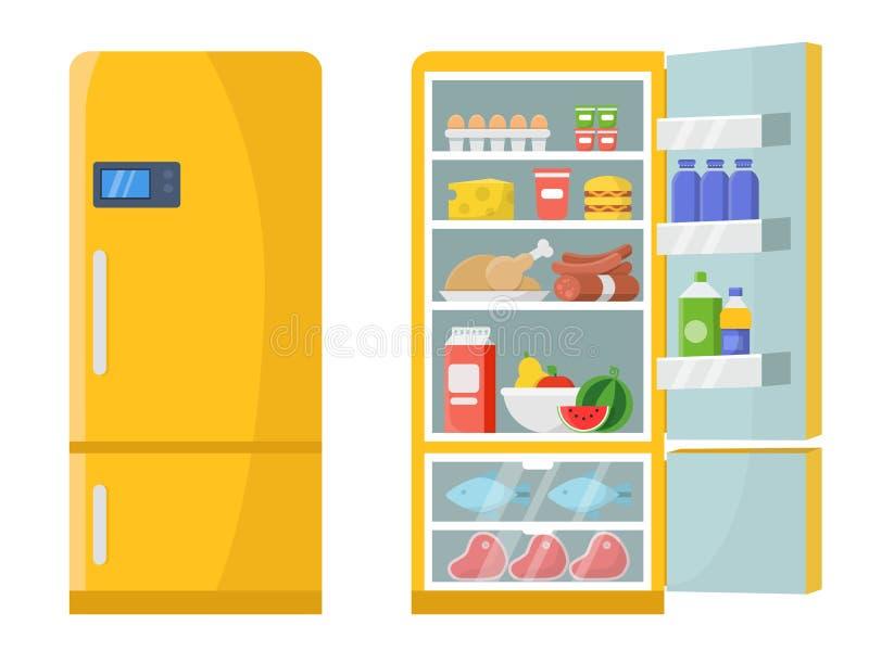 导航空和闭合的冰箱的例证用另外健康食物 库存例证