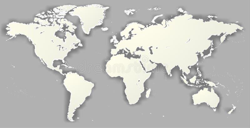 导航空白被撕毁的剪影世界地图单色Worldmap templ 库存例证