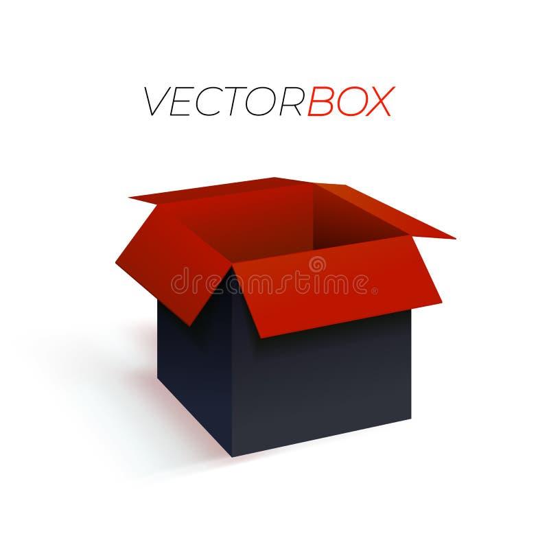 导航空的红色和黑匣子, 3d例证,空白的箱子 向量例证