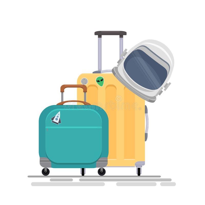 导航空间有宇航员盔甲和袋子的游人手提箱的平的例证 空间家庭旅游业 向量例证
