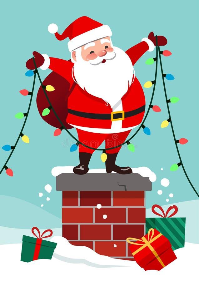 导航站立o的逗人喜爱的愉快的圣诞老人的动画片例证 向量例证