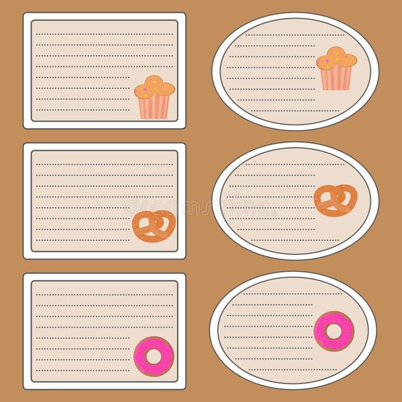 导航笔记本的贴纸用椒盐脆饼,多福饼,杯形蛋糕 向量例证