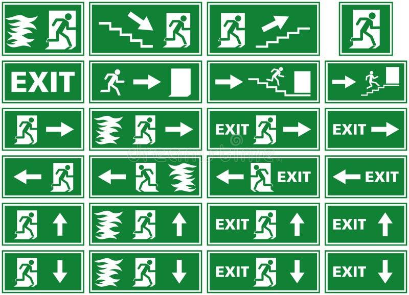 导航符号集-紧急出口标志-火警板材-人逃脱的火焰通过门 库存例证