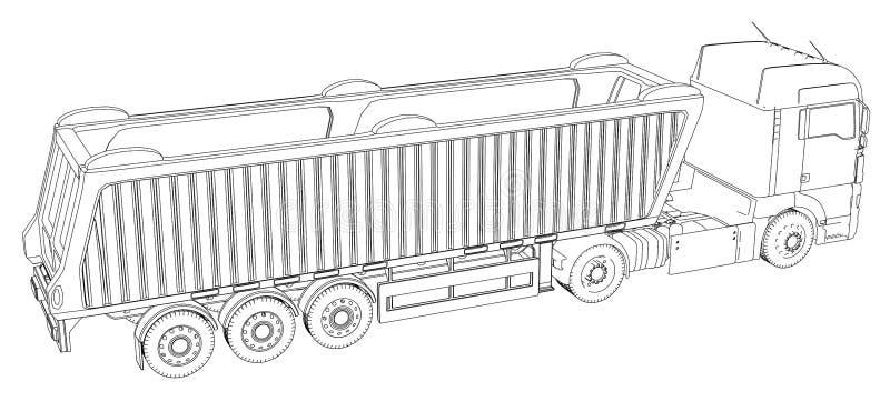导航等量代表的卡车或拖拉机有卸车半拖车的 3d的被创造的例证 导线框架 向量例证
