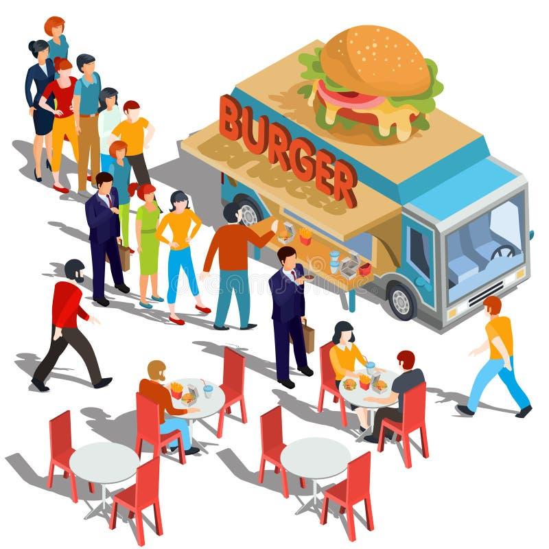 导航等量例证人定货并且买食物并且喝在汉堡包食物卡车 向量例证