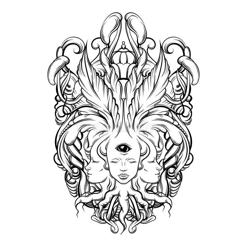 导航算命者的例证与三个头,眼睛,花卉巴洛克式的框架的 库存例证