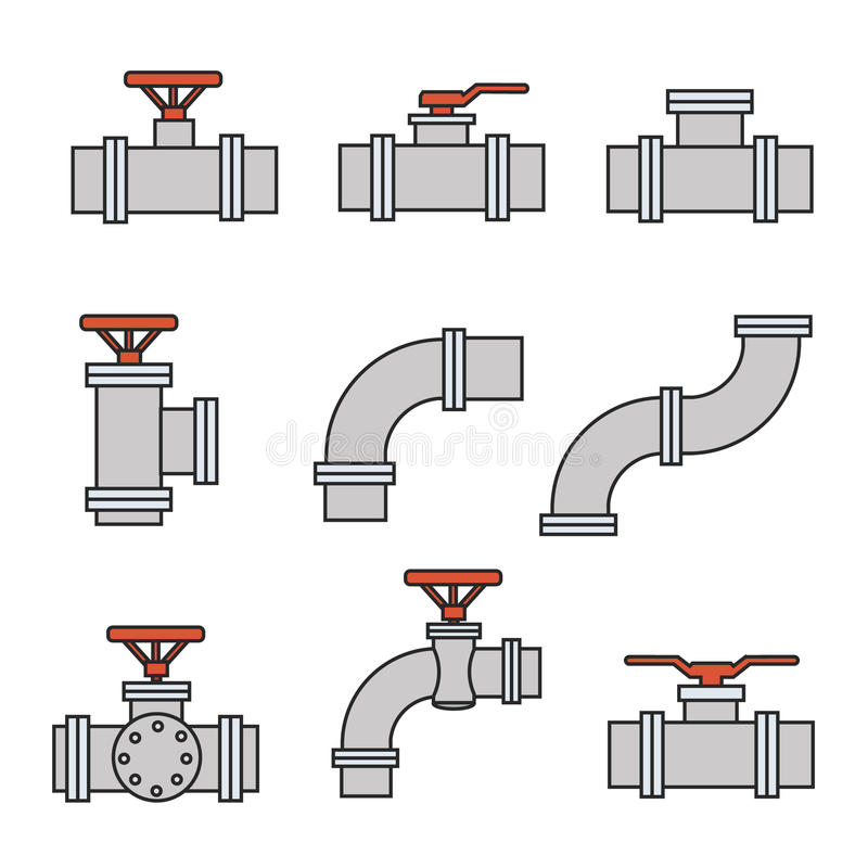 导航管子连接器,测量深度的阀门象,用管道输送工作 向量例证