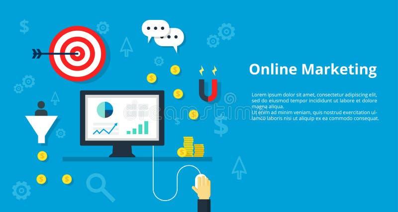 导航管理的,战略,网上营销,与象的inetnet广告例证概念被设置现代企业工作 库存例证