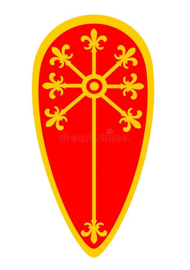 导航红色中世纪风筝盾的例证装饰与 库存图片