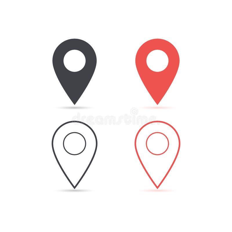 导航红色地图的地点和红色象隔绝与软的阴影 设计ui app网站接口的元素 空白模板 向量例证