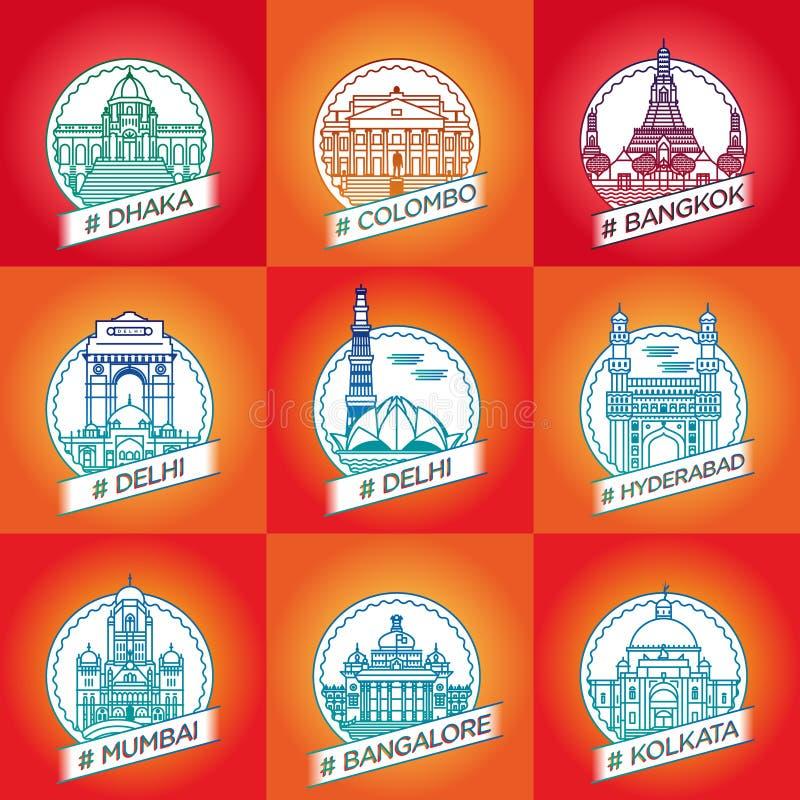 导航线达卡,科伦坡,曼谷,德里,海得拉巴,海得拉巴 库存照片