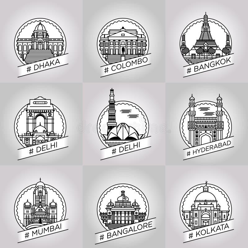导航线达卡,科伦坡,曼谷,德里,海得拉巴,海得拉巴 库存图片