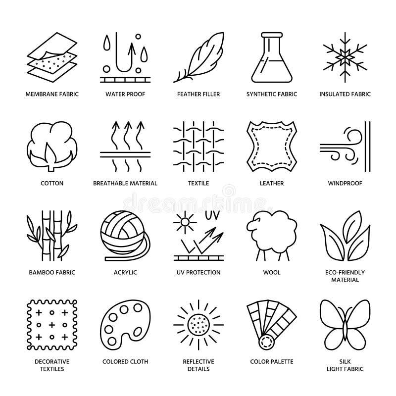 导航线织品特点象,服装物产标志 元素-棉花,羊毛,防水,紫外保护 穿戴标签 向量例证