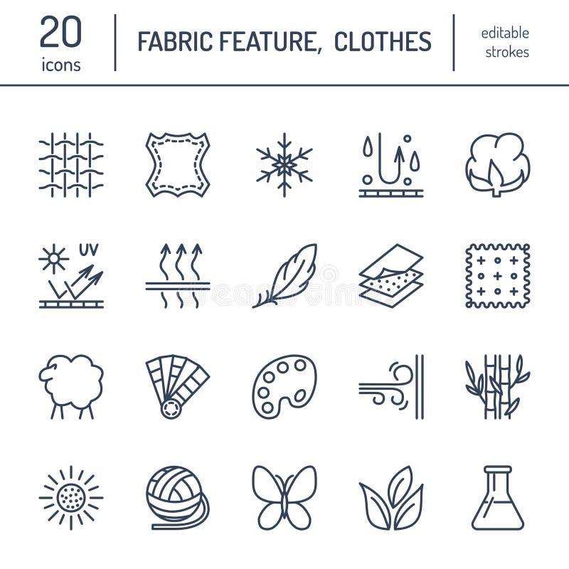 导航线织品特点象,服装物产标志 元素-棉花,羊毛,防水,紫外保护 库存例证