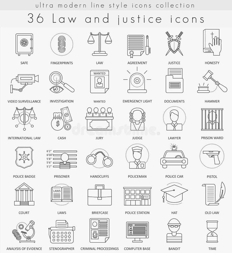 导航网和apps的法律和正义超现代概述线象 向量例证