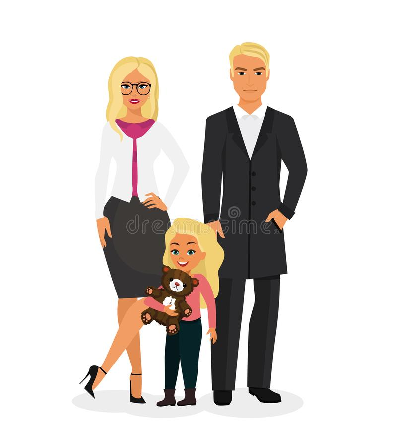 导航美丽的愉快的家庭的例证与相当白肤金发的母亲、英俊的白肤金发的父亲和逗人喜爱的女儿的与 库存例证