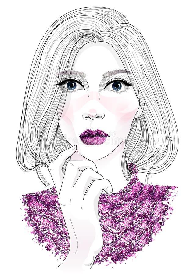 导航美丽的时兴的女孩面孔画象有时髦构成唇膏的在有闪烁的嘴唇和有上流的发光的毛线衣 皇族释放例证
