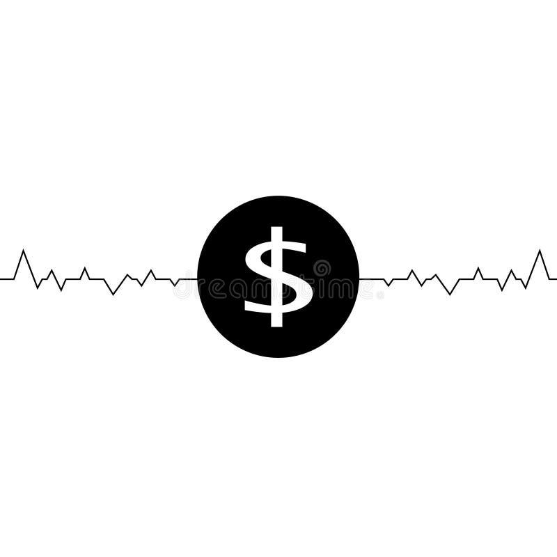 导航美元一线描,简单派艺术的例证 波动在美元的交换率 库存例证