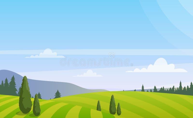 导航美好的农村风景的例证与树的在领域,在舱内甲板的五颜六色的夏天乡下风景 库存例证