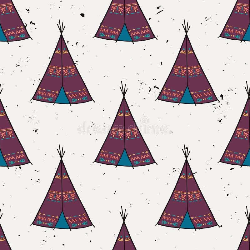 导航美洲印第安人帐篷家的无缝的样式有部族装饰品的 库存例证