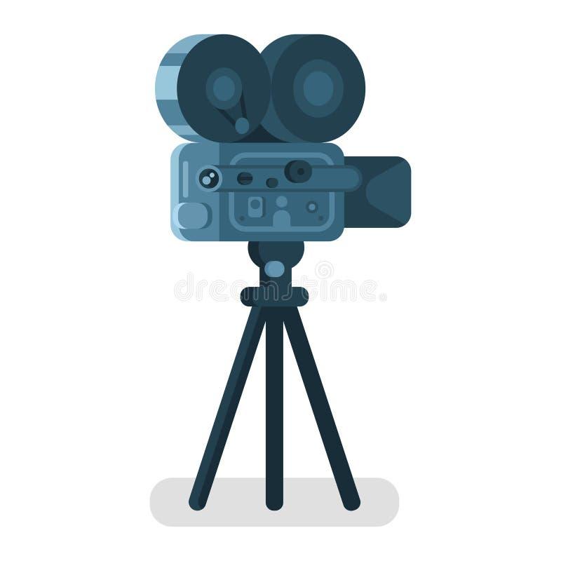 导航老戏院照相机的平的样式例证 图标 库存例证