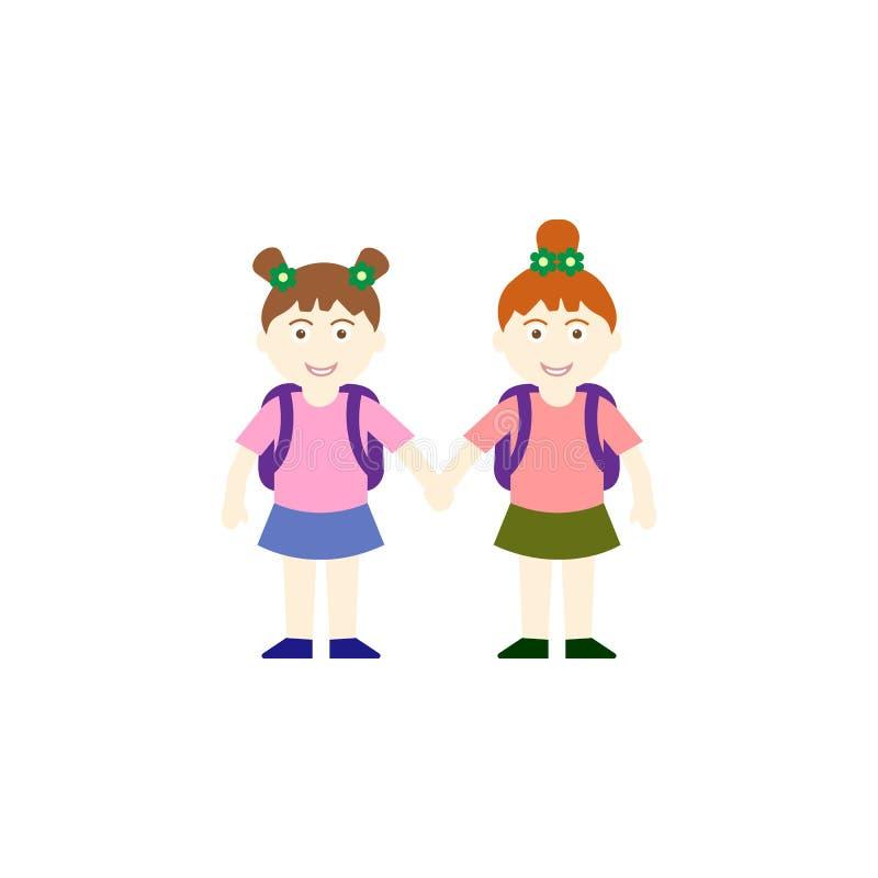 导航聊天两位基本的女小学生的例证,当回家在学校以后时 皇族释放例证