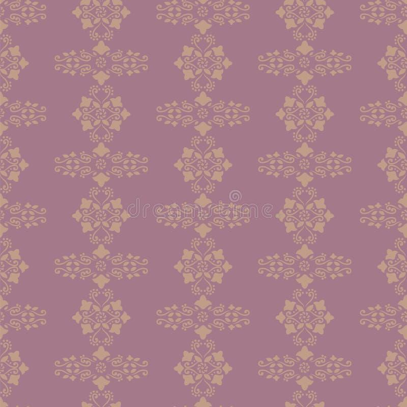 导航背景桃红色紫色和黄色精美装饰品减速火箭的花卉花卷毛无缝的样式墙纸 向量例证