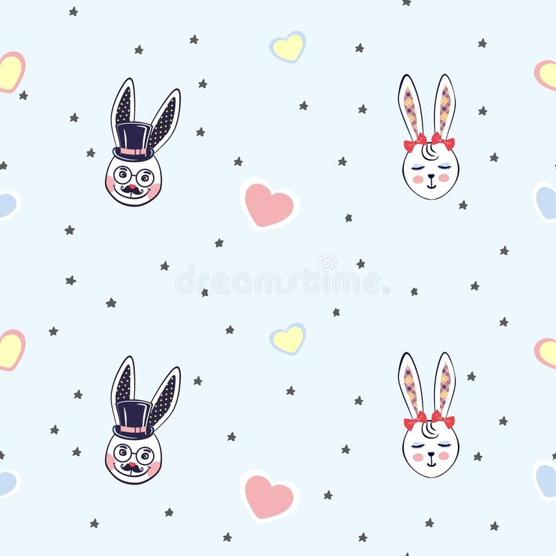 导航背景的例证与小的兔子头的在时尚的星长的耳朵,纸,网中 库存例证