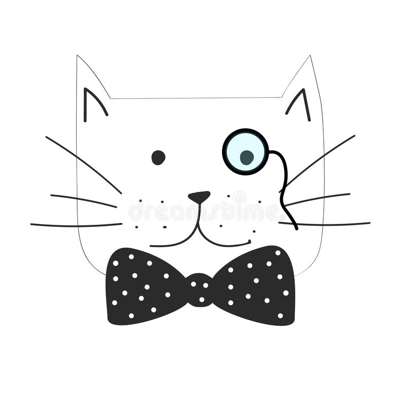 导航脾气坏的猫的例证与蝶形领结的 皇族释放例证