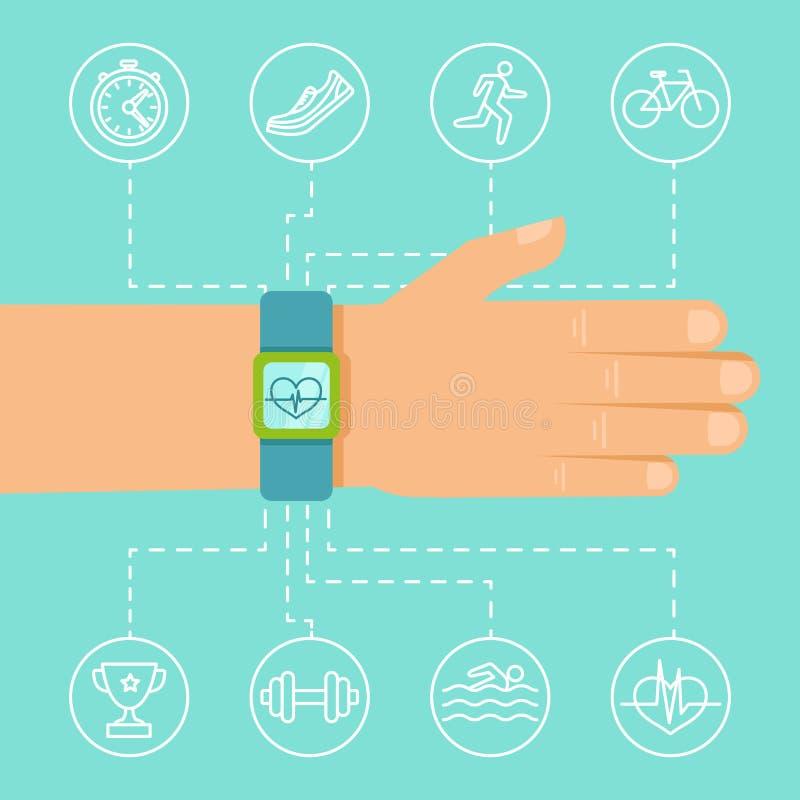 导航腕子的健身app和跟踪仪 皇族释放例证
