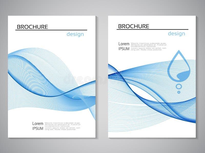 导航自然小册子,水,蓝色白色飞行物,摘要与水下落的波浪设计设计  A4大小的布局模板 过帐 向量例证