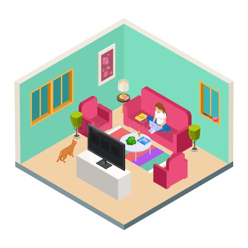 导航自由职业者,遥远的工作等量概念 从家的妇女工作在客厅 库存例证