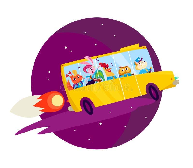 导航舱内甲板回到与大黄色校车飞行的学校例证象在被隔绝的深蓝天空的火箭 向量例证
