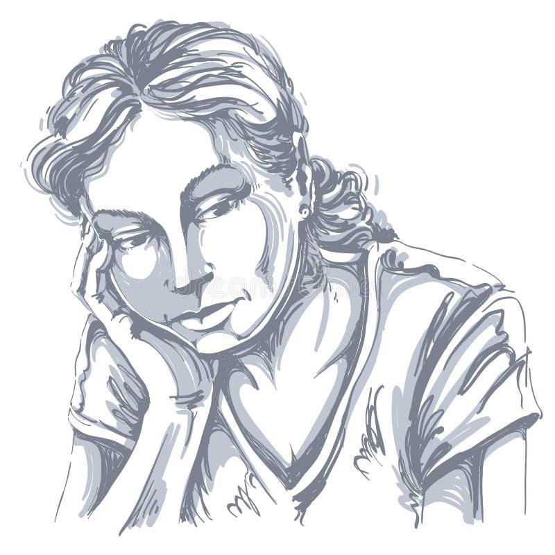 导航艺术图画,哀伤和沮丧的女孩画象,认为 皇族释放例证