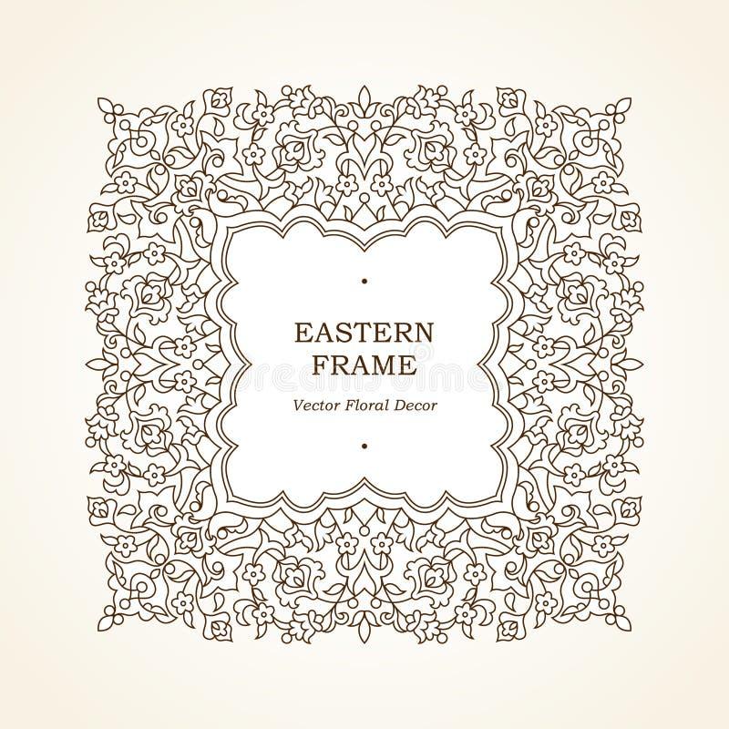 导航花卉在东部样式的线艺术框架 库存例证
