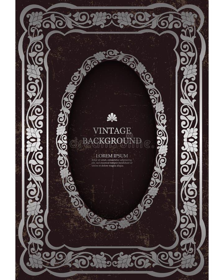 导航花卉葡萄酒框架,书套的大模型设计,老页,照片框架,邀请 维多利亚女王时代的豪华装饰品 向量例证