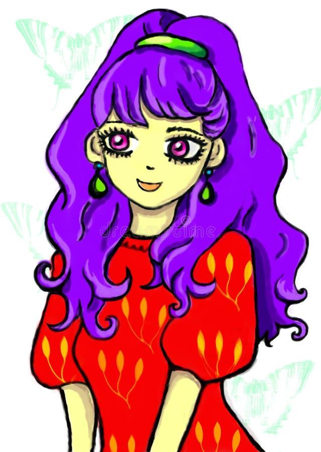 导航芳香树脂女孩的例证有紫色头发的在透明背景的一件红色礼服 向量例证